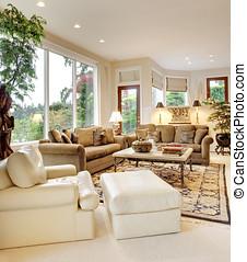 gyönyörű, nappali, otthon, új