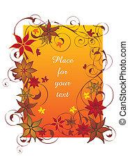 gyönyörű, narancs, ősz, keret
