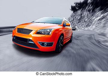 gyönyörű, narancs, sport, autó, képben látható, út