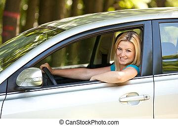 gyönyörű, neki, autó, új, leány, élvez