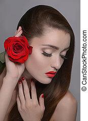 gyönyörű, neki, rózsa, szürke, elszigetelt, időz, birtok, head., portré, arc, nők