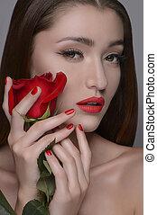 gyönyörű, neki, szépség, rózsa, rose., elszigetelt, szürke, időz, birtok, portré, arc, nők