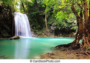 gyönyörű, nemzeti park, erawan, vízesés, kanchanaburi
