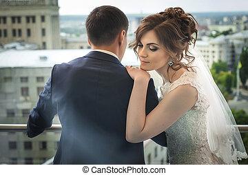 gyönyörű, newlywed, párosít