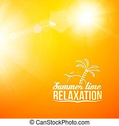 gyönyörű, nyár, elmosódott, sárga, illustration.