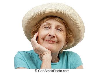 gyönyörű, nyár, idősebb ember, -