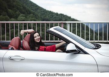 gyönyörű, nyár, nő, autó, fiatal, átváltható, élvez, nap