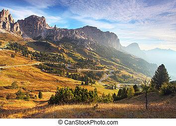 gyönyörű, nyár, olaszország, dolomites, -, táj, napkelte, hegy., havasi legelő