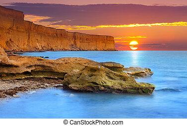 gyönyörű, nyár, seascape., napkelte
