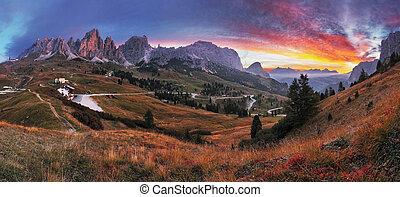 gyönyörű, nyár, táj, alatt, a, hegy., napkelte, -, olaszország, havasi legelő, dolomites