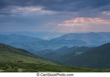gyönyörű, nyár, táj, alatt, a, hegy.