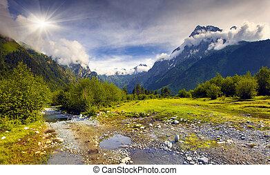 gyönyörű, nyár, táj, alatt, a, kaukázus, hegyek