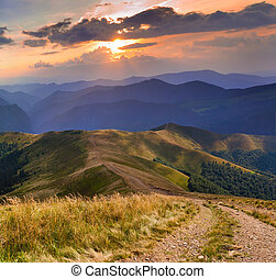 gyönyörű, nyár, táj, noha, út, a hegyekben