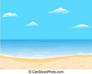 gyönyörű, nyár, tengerpart, háttér