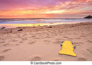 gyönyörű, nyár, tengerpart, napkelte, ausztrália
