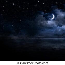 gyönyörű, nyílik, ég, tenger, éjszaka
