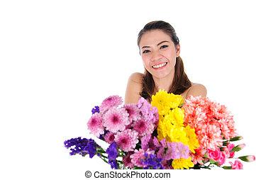 gyönyörű, odaad, nő, virág
