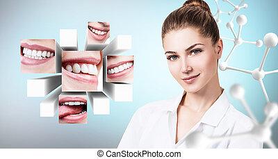 gyönyörű, orvos, kollázs, fiatal, egészséges, fogász, smiles.