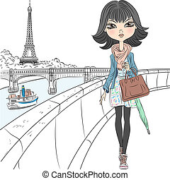 gyönyörű, párizs, leány, mód, vektor