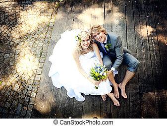 gyönyörű, párosít, esküvő