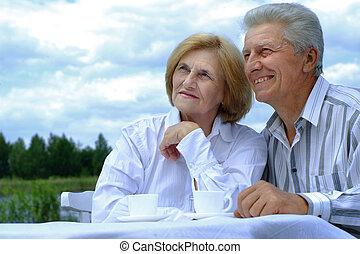 gyönyörű, párosít, kaukázusi, öregedő