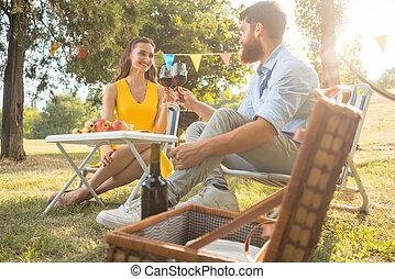 gyönyörű, párosít, szerelemben, közben, romantikus, piknik