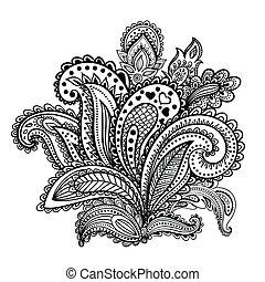 gyönyörű, paisley, indiai, díszítés
