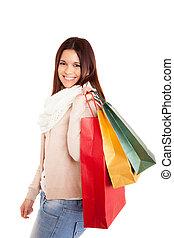 gyönyörű, pantalló, nő, bevásárlás, birtok