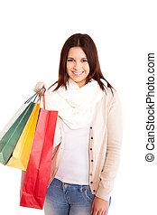gyönyörű, pantalló, woman bevásárol, birtok