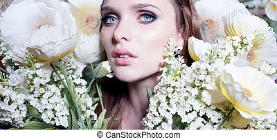 gyönyörű, portré, közül, egy, kisasszony, körülvett, által, sárga virág