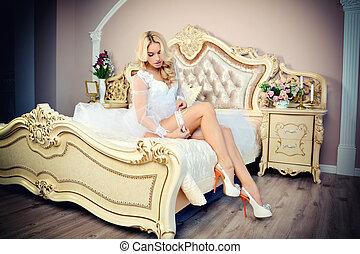 gyönyörű, portré, menyasszony