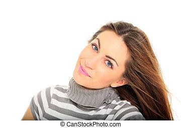 gyönyörű, portré, mosolyog woman