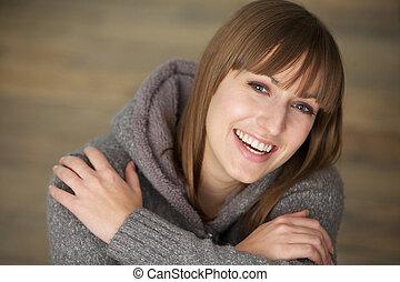 gyönyörű, portré, nő, fiatal, nevető