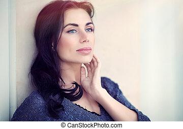 gyönyörű, portré, nő