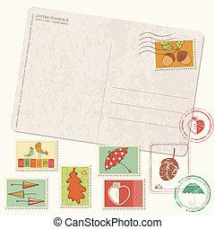gyönyörű, postaköltség, állhatatos, levelezőlap, -, topog, gumi, ősz, vektor, autumn-related