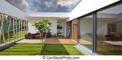gyönyörű, privát, kert, modern, terasz, új, csendes, otthon