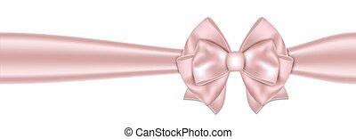gyönyörű, rózsaszínű, íj, háttér, white szalag
