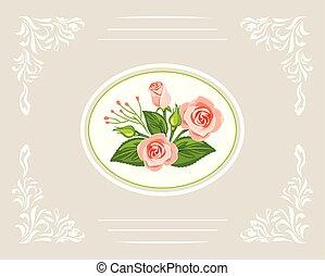 gyönyörű, rózsaszínű, csokor, köszönés, agancsrózsák, kártya