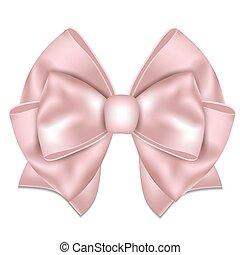 gyönyörű, rózsaszínű, fehér, háttér., íj