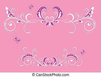 gyönyörű, rózsaszínű, keret