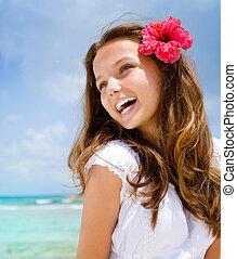 gyönyörű, resort., óceán, tropikus, leány, tengerpart