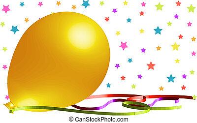 gyönyörű, sárga, balloon, háttér