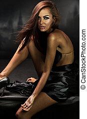 gyönyörű, sötét, felett, barna nő, háttér