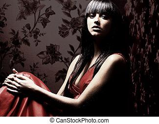 gyönyörű, sötét, nő, szoba, elhelyezett