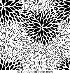 gyönyörű, seamless, flowers., black háttér, monochrom, fehér