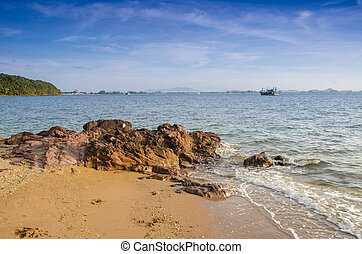 gyönyörű, seascape., zenemű, közül, nature.