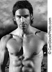 gyönyörű, shirtless, hím, formál, erős