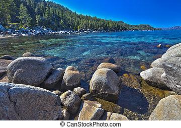gyönyörű, shoreline, tó tahoe