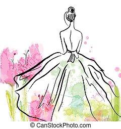 gyönyörű, skicc, mód, -, háttér, virágos, leány, ruha