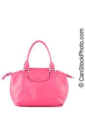 gyönyörű, szín, közül, rózsaszínű, megkorbácsol, mód, kezezés táska, elszigetelt, white háttér